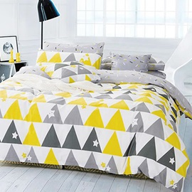 Wannaus Full Size Concise Triangle Print Cotton 4-Piece Duvet Cover Sets
