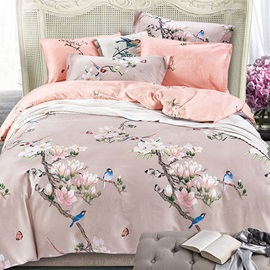 Wannaus Pastoral Style Birds and Magnolia Prints Cotton 4-Piece Duvet Cover Sets