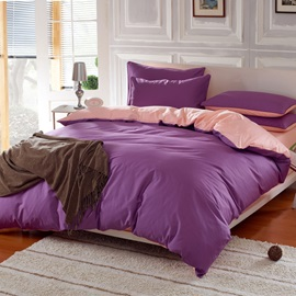 Wannaus Solid Purple and Light Pink Color Blocking Cotton 4-Piece Duvet Cover Sets