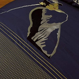 Wannaus Noble Dark Blue with Figure and Golf Pattern 4 Piece Bedding Sets