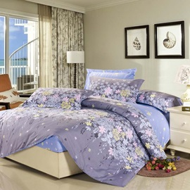 Wannaus High Quality 4 Piece Rosemary Print Dun and Blue Fitted Sheet Bedding sets