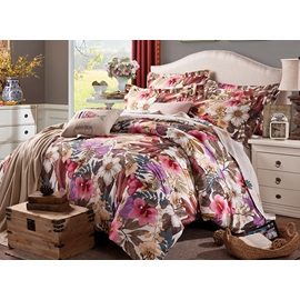 Wannaus Elegant Colorful Big Flowers Printing Cotton 4-Piece Duvet Cover Sets