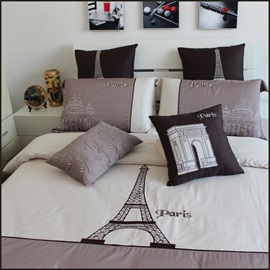 Wannaus High Quality Print Gray Eiffel Tower 4 Piece Bedding Sets