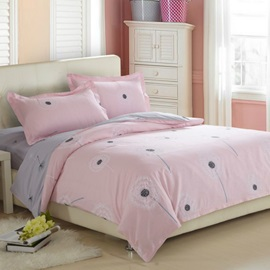 Wannaus Dandelion Pattern Cotton 4-Piece Full Size Pink Duvet Covers/Bedding sets