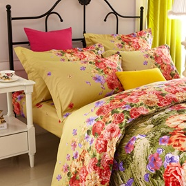 Wannaus Blooming Flower Print 4-Piece Cotton Duvet Cover Sets