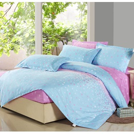 Wannaus Light Pink and Blue 4 Piece Floral Active Print Fitted Sheet Bedding sets