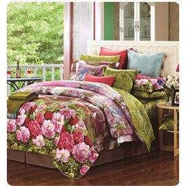 Wannaus Beauty Peony Garden Print Staple Cotton 4 Piece Bedding Sets