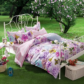 Wannaus Butterfly and Flower Print 4-Piece Cotton Duvet Cover Sets