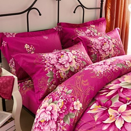 Wannaus Red Flowers Print 4-Piece Cotton Duvet Cover Sets