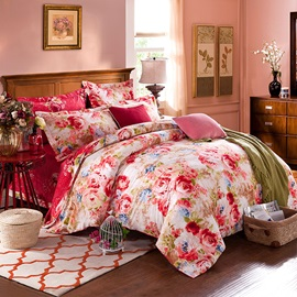 Wannaus Peonies Print Bright Pink 4-Piece Cotton Duvet Cover Sets