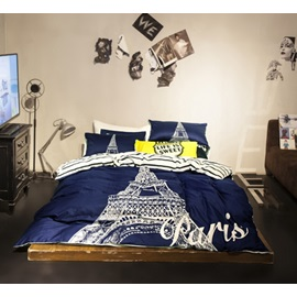 Wannaus Modern Eiffel Tower Cotton 4 Pieces Bedding Sets