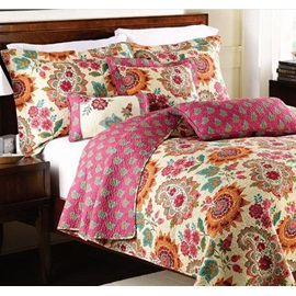 Wannaus Paisley Floral Prints Boho Chic Cotton 3-Piece King Size Bed