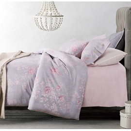 Wannaus Dreamy Pink Peony Light Purple 4-Piece Cotton Duvet Cover Sets