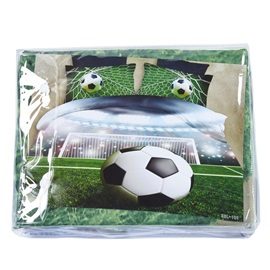 Wannaus 3D Soccer Ball with Stadium Printed Cotton 4-Piece Bedding Sets/Duvet Covers