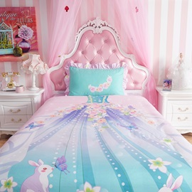 Wannaus Lovely Magic Fairy Dress Pattern Kids Cotton 4-Piece Duvet Cover Sets