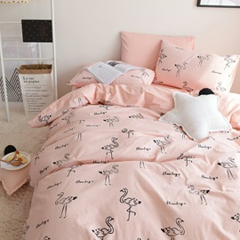 Wannaus Flamingo Cartoon Printed Pink Cotton 4-Piece Bedding Sets/Duvet Cover
