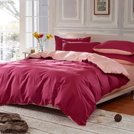 Wannaus Solid Burgundy Red and Light Pink Color Blocking Cotton 4-Piece Bedding Sets/Duvet Cover