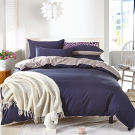 Wannaus Solid Dark Blue and Gray Color Blocking Cotton 4-Piece Bedding Sets/Duvet Cover