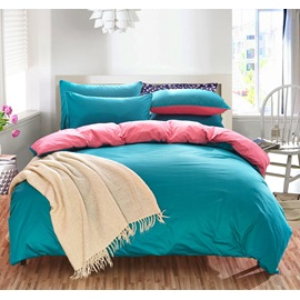 Wannaus Solid Green and Bright Pink Color Blocking Cotton 4-Piece Bedding Sets/Duvet Cover