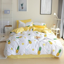 Wannaus Pineapple Yellow Fresh Style Cotton 4-Piece Bedding Sets/Duvet Cover