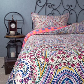 Wannaus Full Size Bohemia Pattern Ethnic Style Cotton 4-Piece Bedding Sets/Duvet Cover