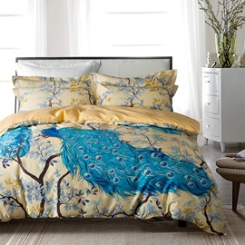 Blue Peacock and Branches Luxury 4-Piece Cotton Bedding Sets/Duvet Cover