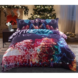 Christmas Trees and Fireworks Printed Cotton 4-Piece 3D Bedding Sets/Duvet Covers