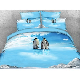 Penguin Family on Ice Printed 4-Piece 3D Bedding Sets/Duvet Covers