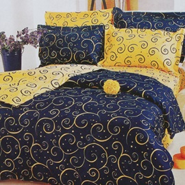 Wannaus Blue and Yellow Abstract Decorative Pattern 4-Piece Cotton Bedding Sets