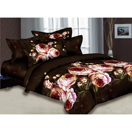 Dark Brown 4-piece Comforter Bedding Sets with Pink Blossoming Flowers and Leaves