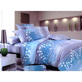 Light Blue Cover With Leaves Comforter 4 Piece Bedding Sets
