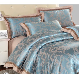 High Quality Trendy Print Silk and Cotton 4 Piece Bedding Sets