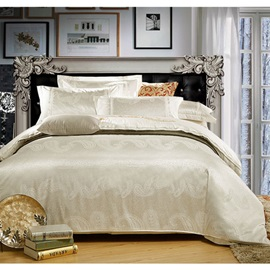 High-End White Satin Jacquard 4-Piece Bedding Sets