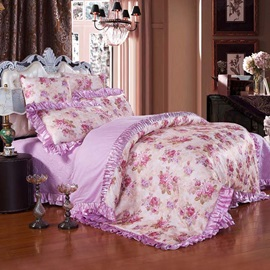 Wannaus Purple Peonies Pattern 6-Piece Cotton Sateen Duvet Cover Sets
