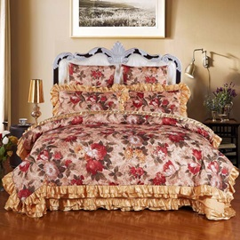 Wannaus Red Rose Pattern Vintage Style 6-Piece Cotton Sateen Duvet Cover Sets
