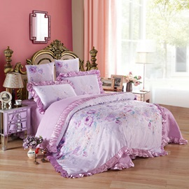 Wannaus Purple Flowers Printed Princess Style 6-Piece Cotton Sateen Bedding Sets/Duvet Cover