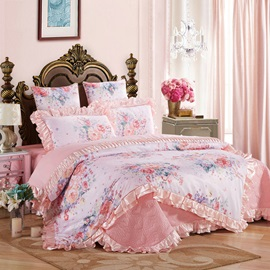 Wannaus Pastel Pink Flowers Blossom 6-Piece Cotton Sateen Bedding Sets/Duvet Cover