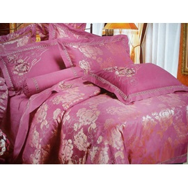 Aubergine Jacquard Beautiful Peony Drill 4 Piece Bedding Sets