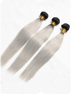 Charming 1B/Grey Straight Human Hair Weave 1 PC