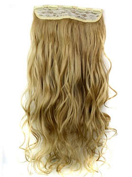 24M27 Mix Color Long Wave Synthetic One Piece Clip In Hair Extension 24 Inches