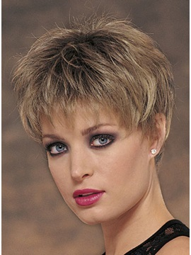 Layered Short Straight Silk Synthetic Hair Wig Capless