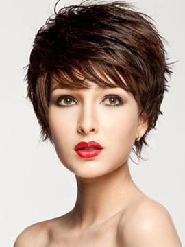 Straight Short Layered Capless Wig Synthetic Hair Wig