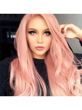 Long Layered Wavy Pink Synthetic Hair Wig