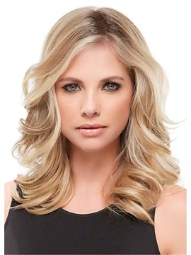 Shoulder Length Deep Wave Side Swept Synthetic Hair Capless Wigs 18 Inches