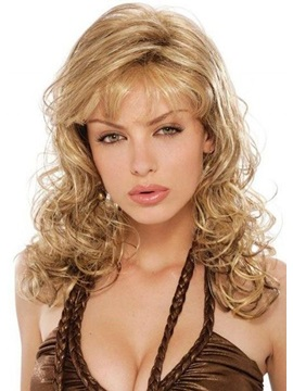 Long Length Loose Deep Wave Side Swept With Bangs Synthetic Hair Capless Wigs 24 Inches