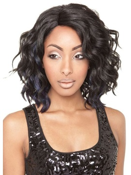Natural Looking Medium Wavy Hairstyles Women's Synthetic Hair Wigs Rose Capless Wig 16Inch