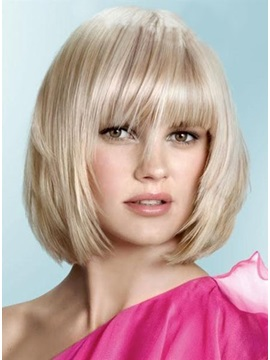 Gorgeous Celebrity Hairstyle Medium Straight Shining Wig about 10Inches