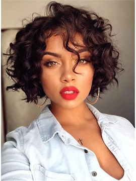 Women Curly Synthetic Hair Capless 8 Inches Wig