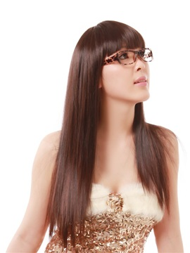 Office Lady Long Synthetic Nature Look Brown Straight Hair Wig