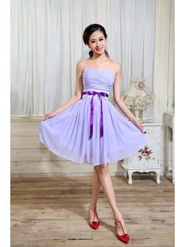 Hot Sell Strapless Ruched A-Line Sleeveless Knee-Length Bridesmaid Dress